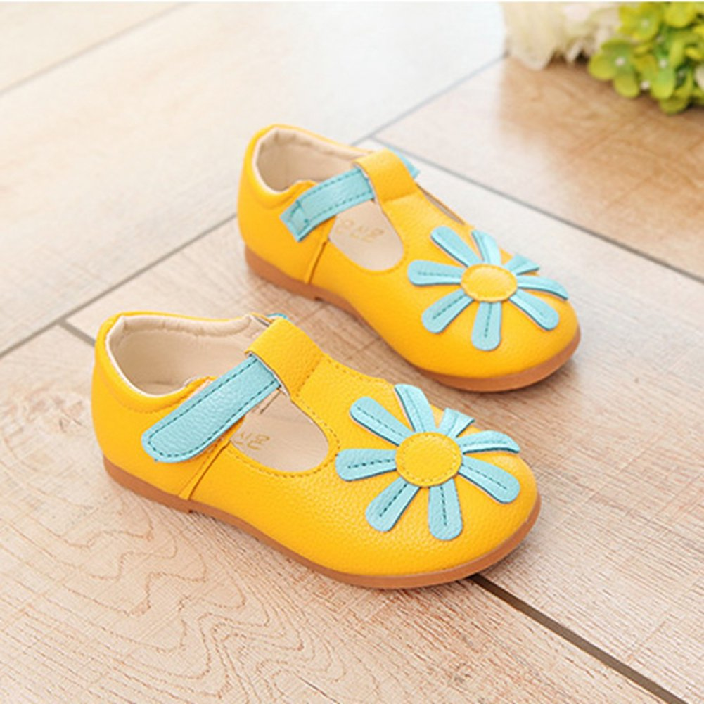T-JULY Girls Flower T-Strap Mary Jane Shoes Breathable Comfy Dress Flat Shoes for Toddler Kids