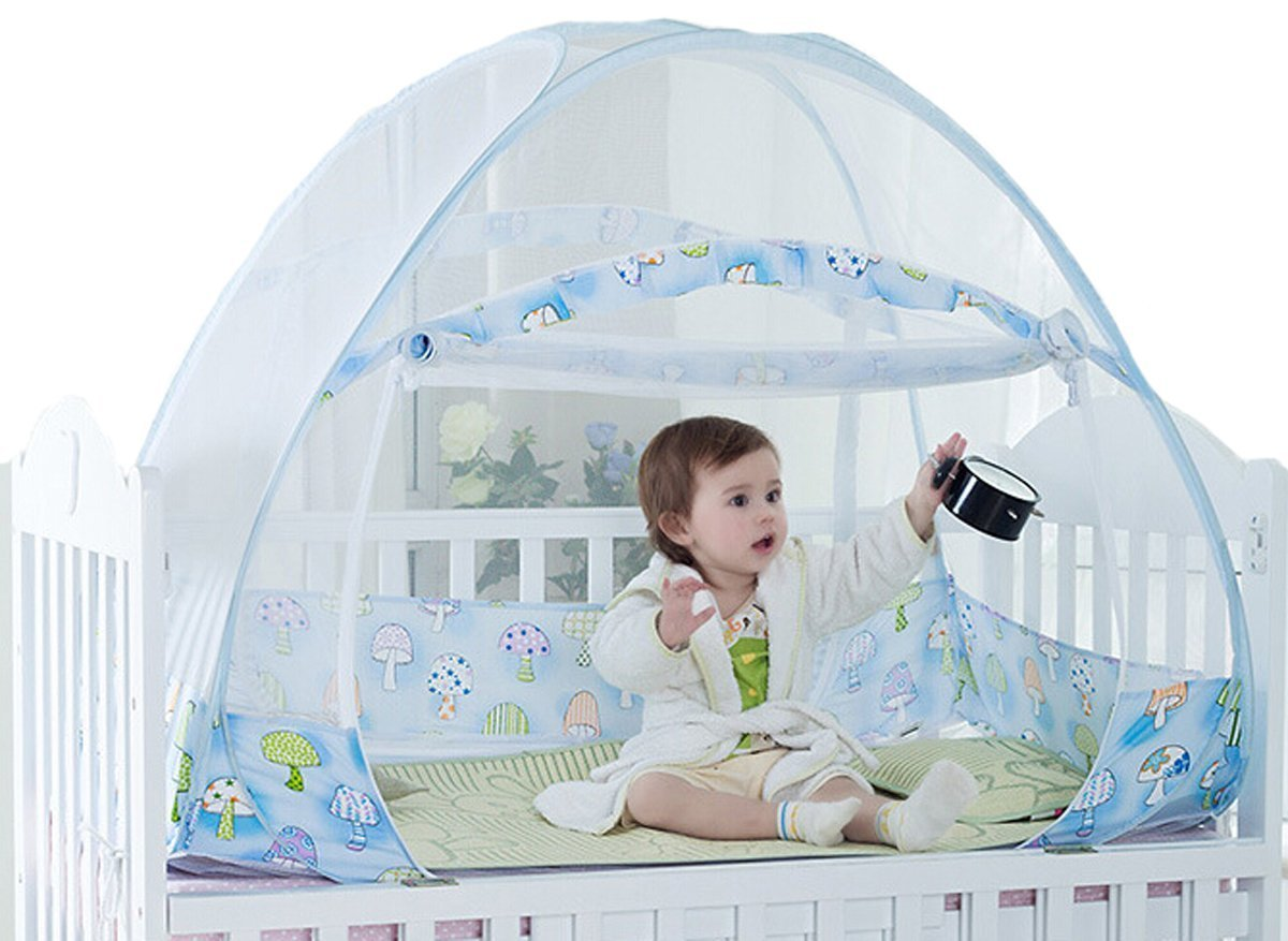 AUMEY Zippered Baby Mosquito Net Foldable Baby Bed Kids Tent Nursery Crib Canopy Netting Folding Cot Mosquito Net (592935inch) by AUMEY (Image #1)
