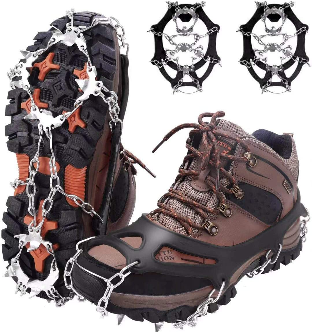 Jogging on Ice and Snow Climbing Snow Grips with 14 Stainless Steel Spikes High Stream Gear Ice Cleats for Kids Walking Anti Slip Traction Grippers for Boys and Girls Boots or Shoes for Hiking