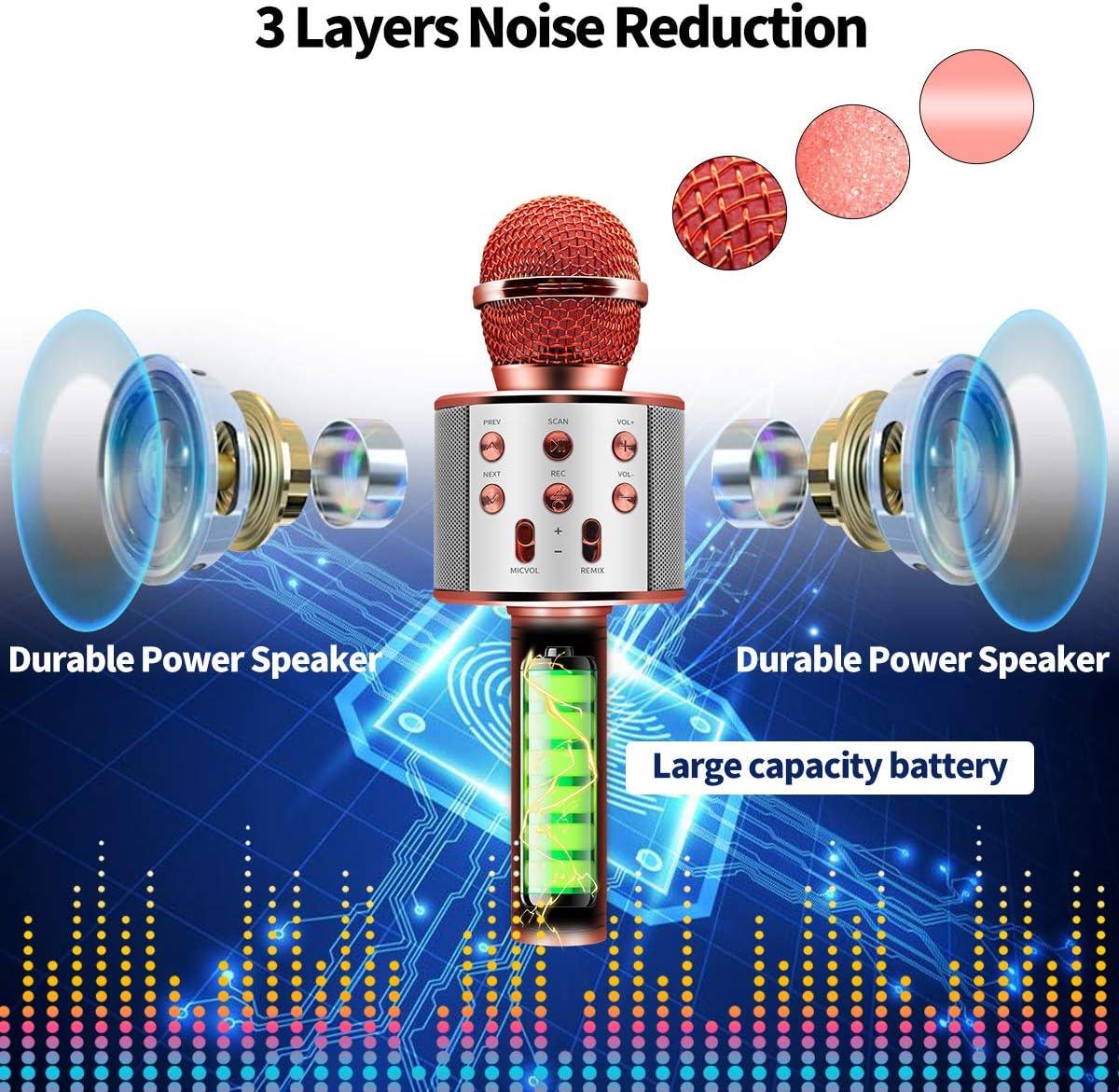 Wireless Karaoke Bluetooth Microphone Compatible with Smart Phone Durable HIFI Speaker Kids Microphone Karaoke Microphone for Home Party Player Karaoke Machine with Record Function
