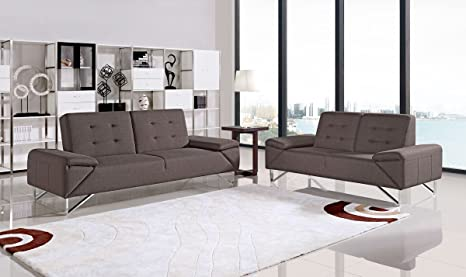 Amazon.com: Divani Casa Briza Modern Brown Fabric Sofa Bed ...