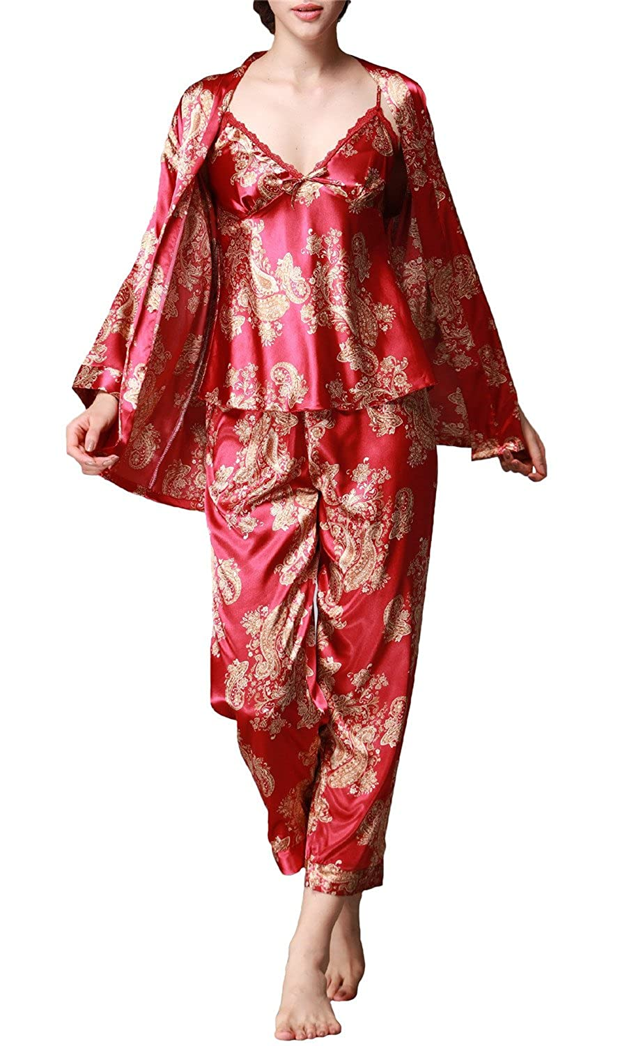 Jusfitsu Women Classic Long Sleeve Printed Satin Silk Pyjamas Set Nightwear Sleepwear Loungewear