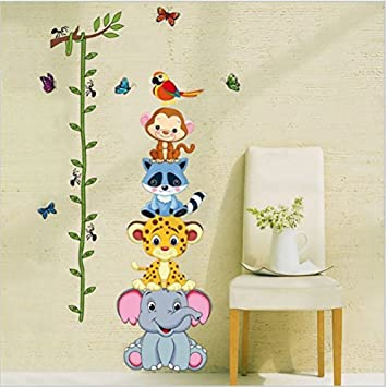 Height Measurement Growth Chart Tree Cute Monkey And Owls Wall Vinly Decal  Decor Sticker Removable Super