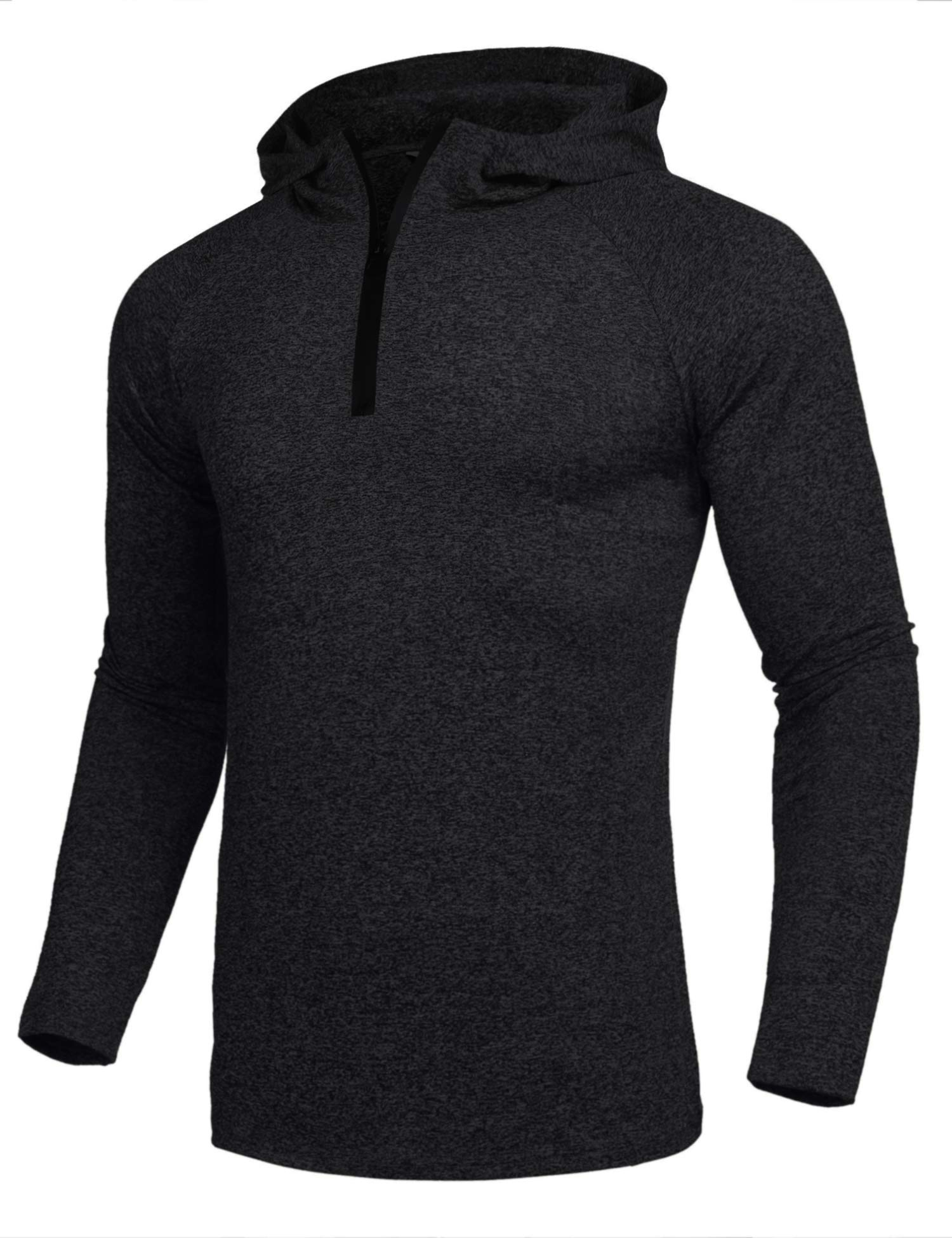 COOFANDY Mens Quarter Zip Cycling Jersey Long Sleeve Hooded