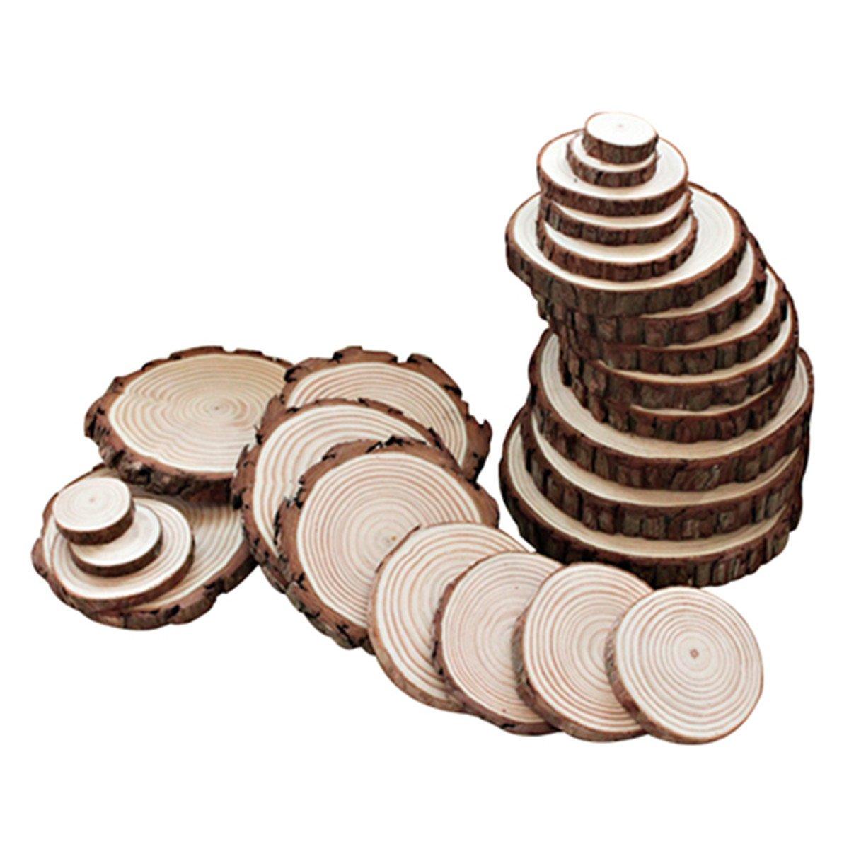 Sld Dischi di fette di legno per l'artigianato di fai da te, albero di pino Fette di alluminio 5-6cm, decorazione di cerimonia nuziale e del partito 25PCS Sunliday
