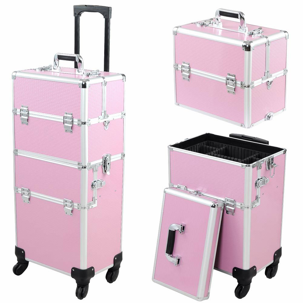 4- Wheel Rolling Makeup Train Case with Drawer Bar and Mirror by 999 Mega USA