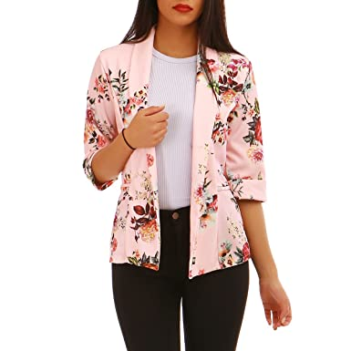 9a023eb358e La Modeuse - Blazer Femme imprimé Fleuri  Amazon.fr  Vêtements et  accessoires