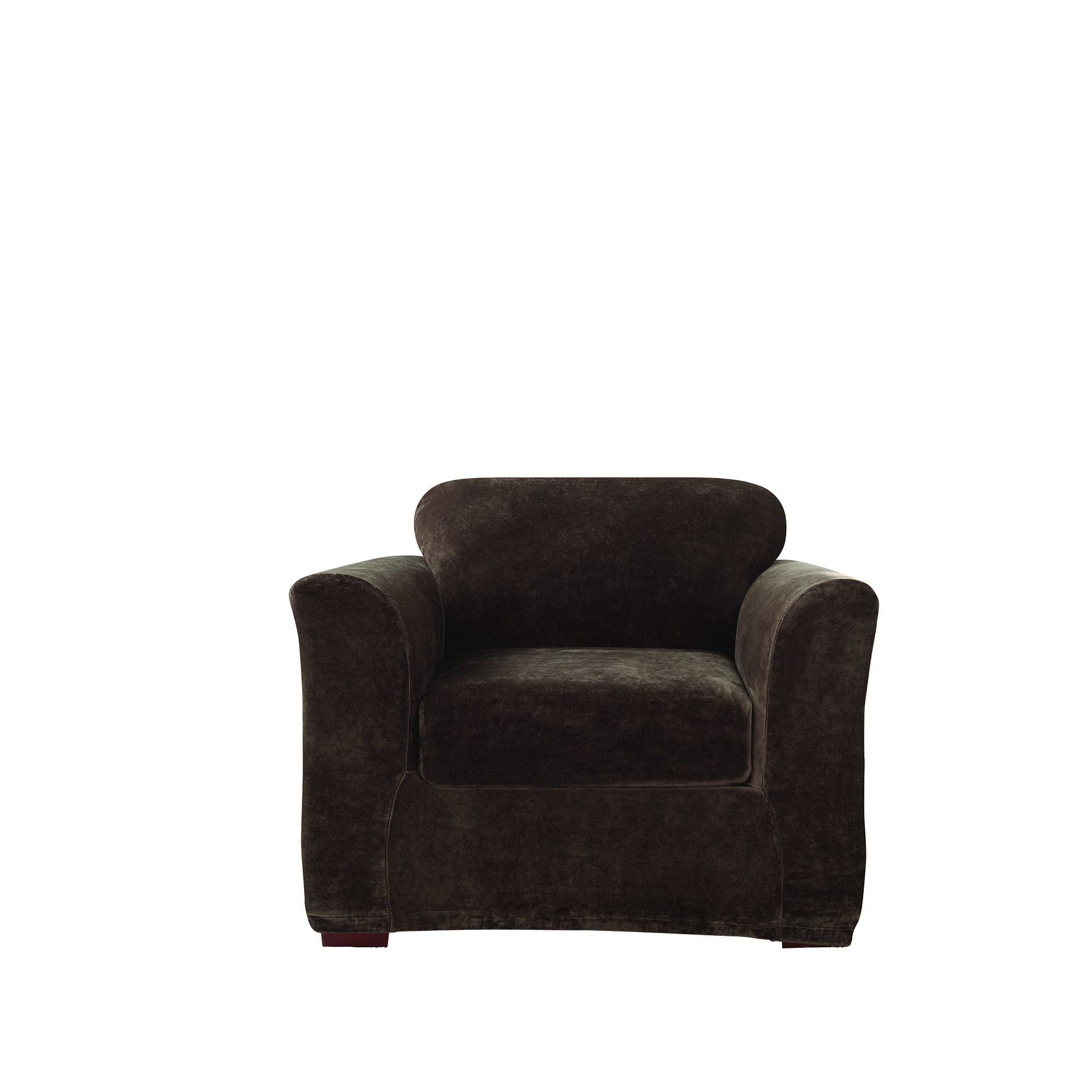 Sure Fit Stretch Plush Separate Seat Chair Slipcover - Chocolate by Surefit