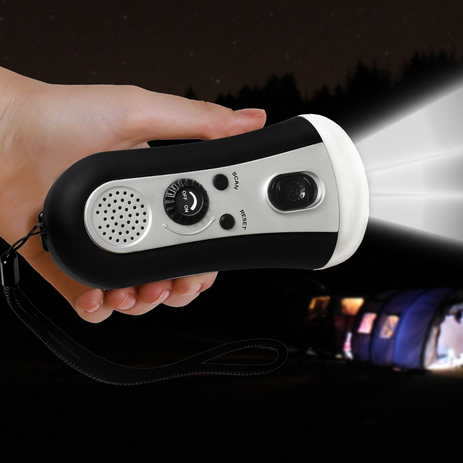 SolarEK Portable Hand Crank Power Radio W/ Super Bright LED Flashlight. Great for Camping Tent Outdoor Mountain Hiking Trekking Climbing Emergency Light Power Hurricane Storm Outages.