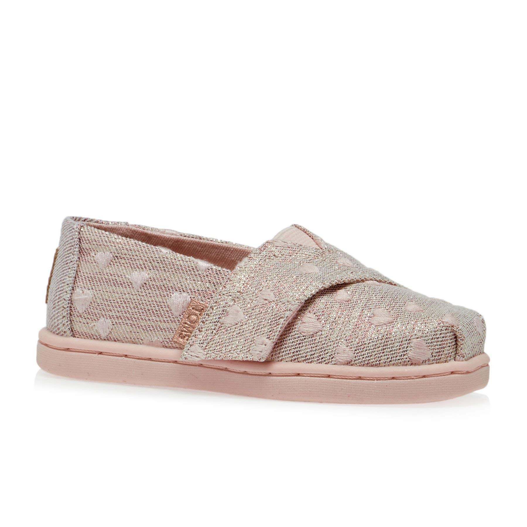 TOMS Kids Baby Girl's Alpargata (Toddler/Little Kid) Rose Cloud Heartsy Twill Glimmer Embroidery 11 M US Little Kid