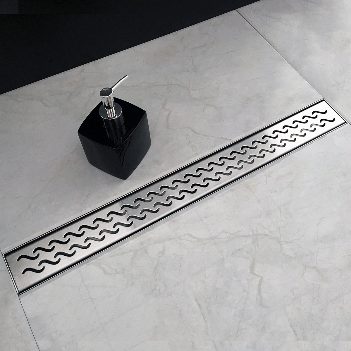 Neodrain 28 Inch Rectangular Linear Shower Drain with Slight Sea Grate, Brushed 304 Stainless Steel Bathroom Floor Drain,Shower Floor Drain Includes Adjustable Leveling Feet, Hair Strainer by Neodrain (Image #2)