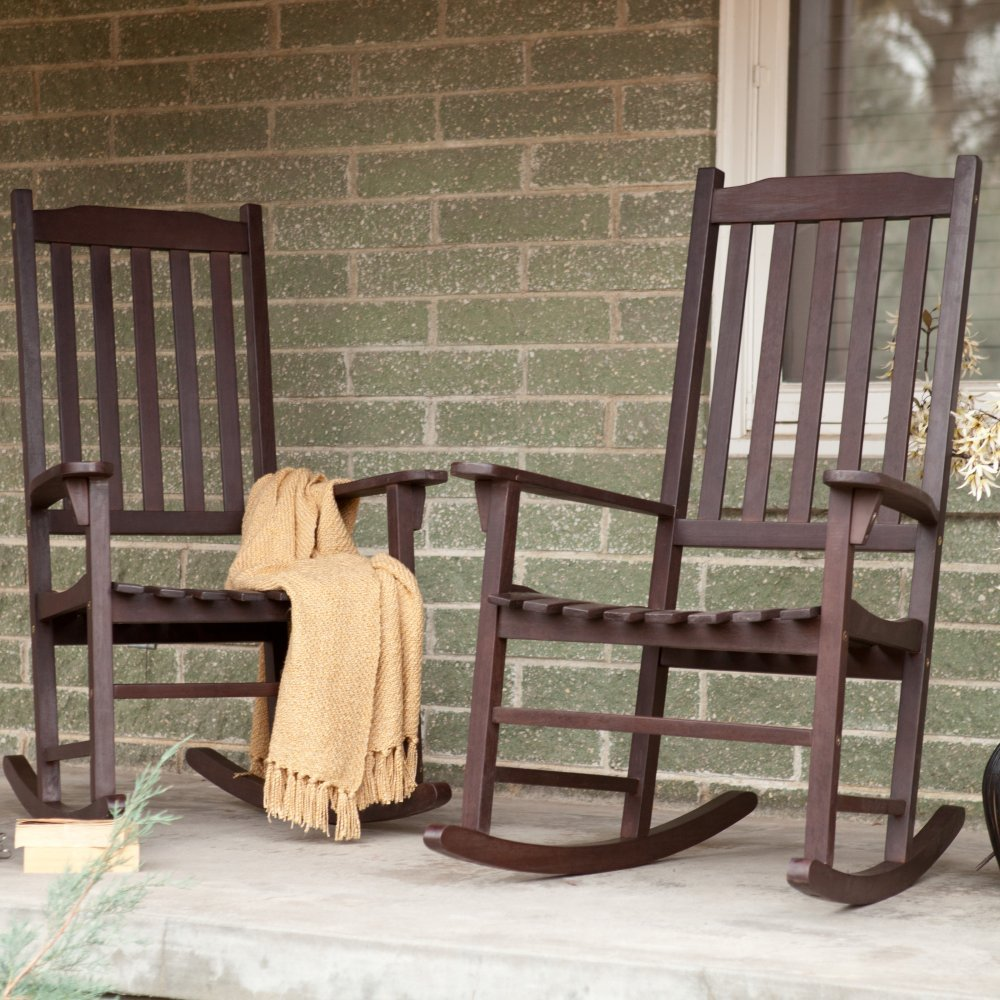 Amazon.com : Pair Of Coral Coast Indoor/Outdoor Mission Slat Rocking Chair    Dark Brown : Patio Rocking Chairs : Garden U0026 Outdoor