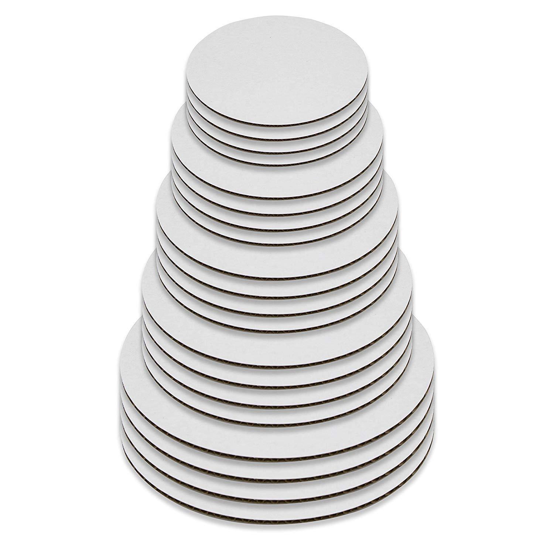 円形ケーキボード - ホワイトケーキサークルベース20個セット (6インチ、8インチ、10インチ、12インチ - 各5枚)   B07KY9YFXW