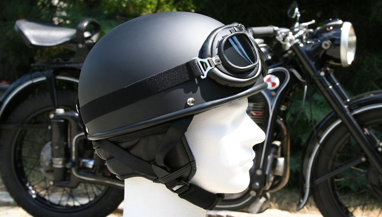 ATO-Helme Oldtimer Motorradhelm in Schwarz matt mit Brille Gr/ö/ße S 55 bis 56cm