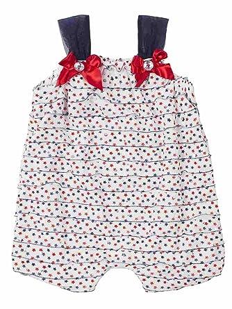 5b59cf8bcd7 Little Lass Infant Girls Red White Blue Star Romper Patriotic Sleeveless  Creeper (3 Months)