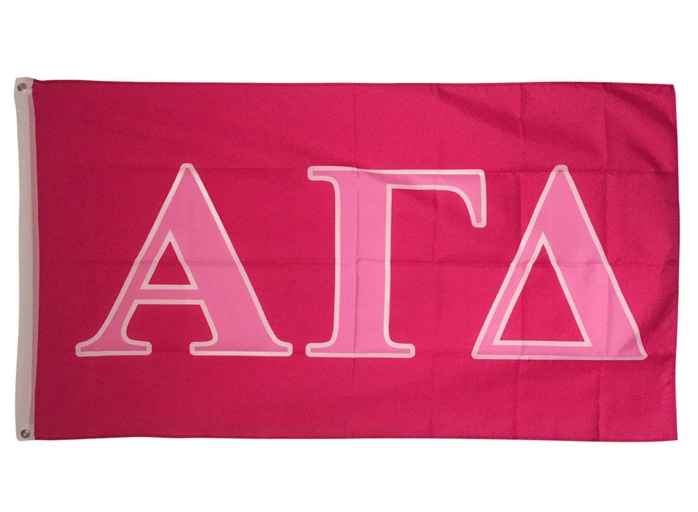 Alpha Gamma Delta Dark Pink/Light Pink Letter Sorority Flag Greek Letter Use as a Banner Large 3 x 5 Feet Sign Decor Alpha Gam