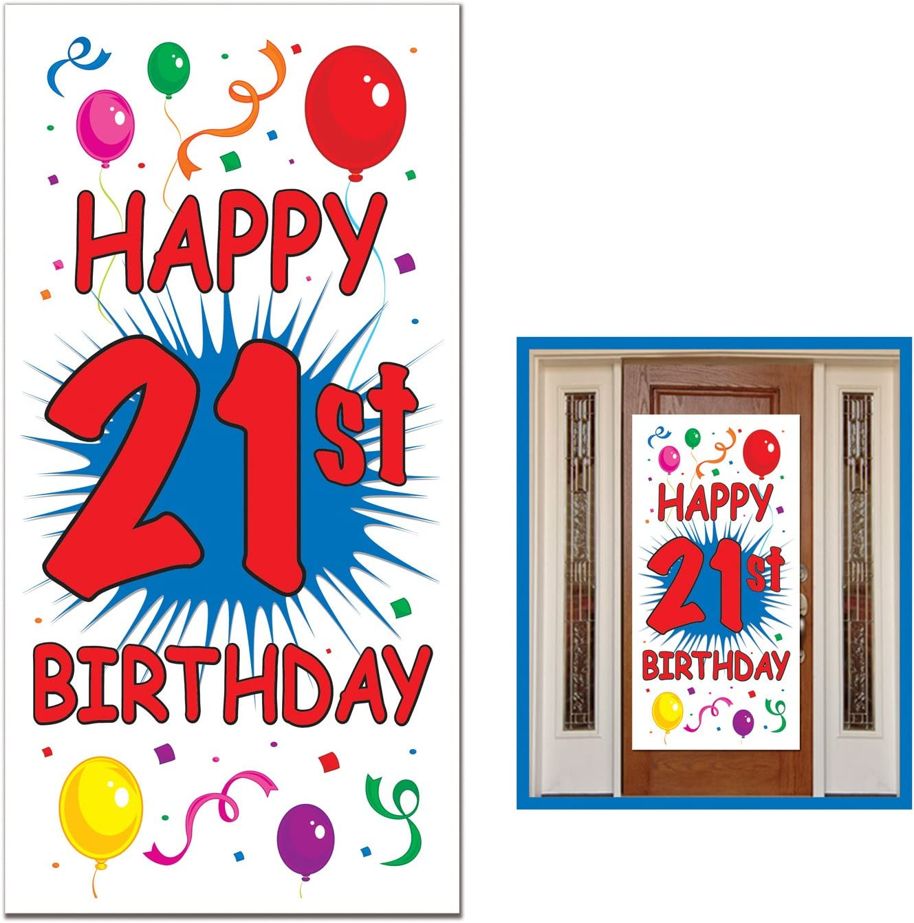1 count 1//Pkg 21st Birthday Door Cover Party Accessory