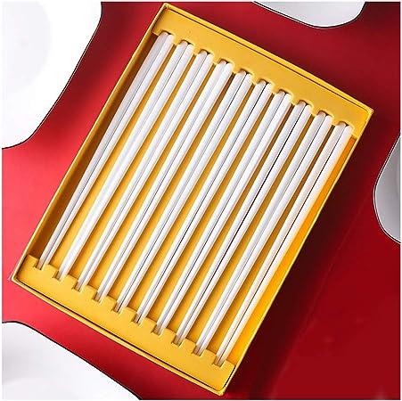 juego de palillos de porcelana, 10 pares de palillos Palillos chinos reutilizables Vajilla apta para lavavajillas Resistencia a altas temperaturas, caja de regalo de alto grado-White: Amazon.es: Hogar