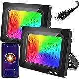LED Flood Lights Outdoor, 20W Floodlights Indoor RGB Color Changing, Bluetooth Floor Lamp Party Uplighting Landscape, LED Wal