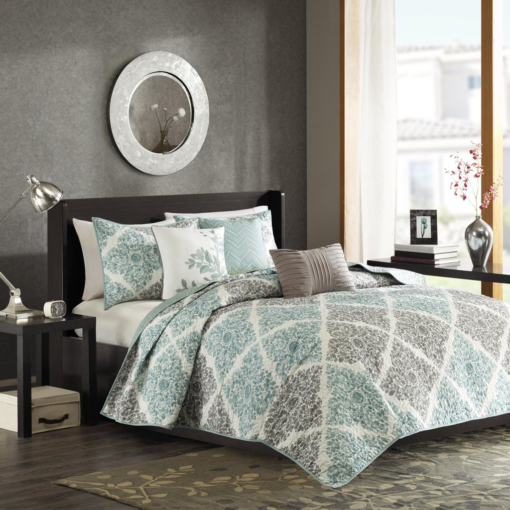 Madison Park Claire King/Cal King Size Quilt Bedding Set - Aqua, Grey, Leaf Geometric – 6 Piece Bedding Quilt Coverlets – Ultra Soft Microfiber Bed Quilts Quilted Coverlet