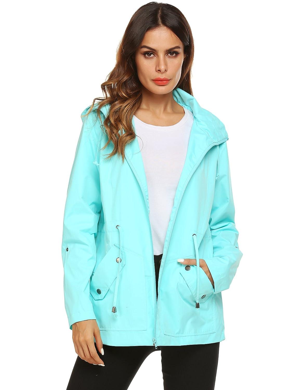 1 Light Green ZHENWEI Rain Jacket Women Long Raincoat Lined Rain Coat Waterproof Windbreaker for Hiking Travel