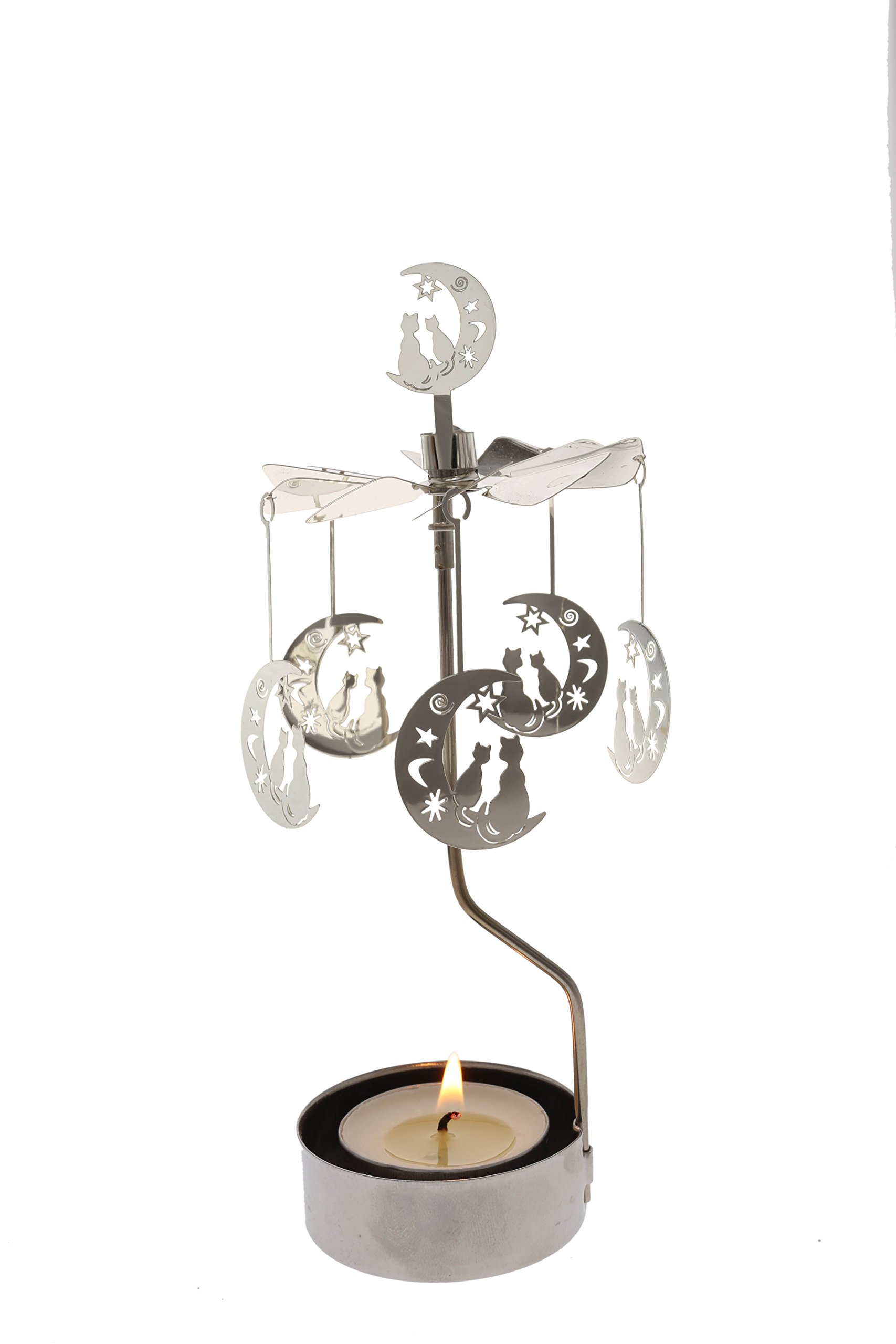 Rotary Candle Holder Spinning Candleholder Metal Small Gift (Moon+cat) by Mustaner (Image #1)