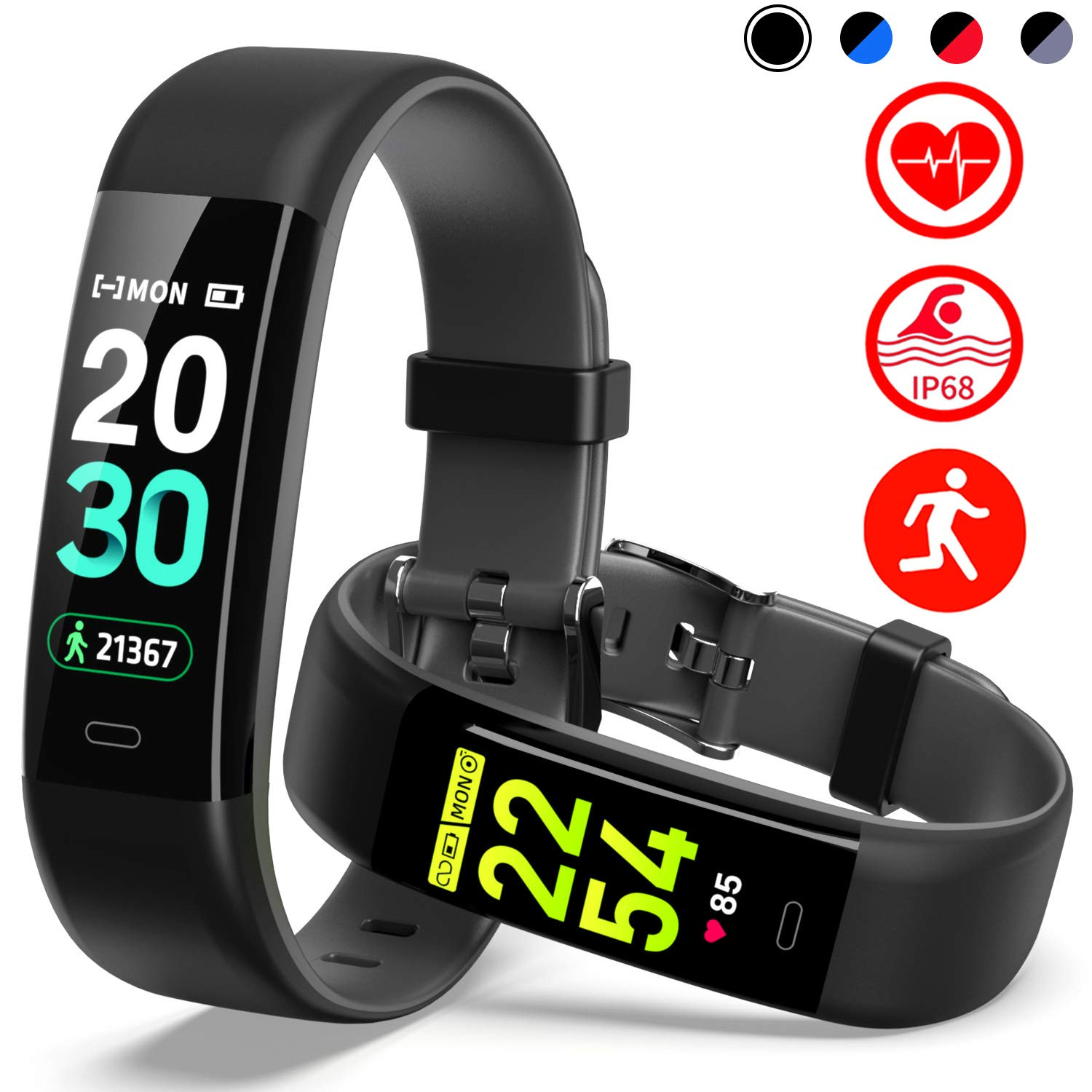 Mgaolo Fitness Tracker HR,Activity Tracker IP68 Waterproof Smart Watch Fit Wristband with Heart Rate Blood Pressure Sleep Monitor Pedometer Calorie Step Counter for Android and iPhone