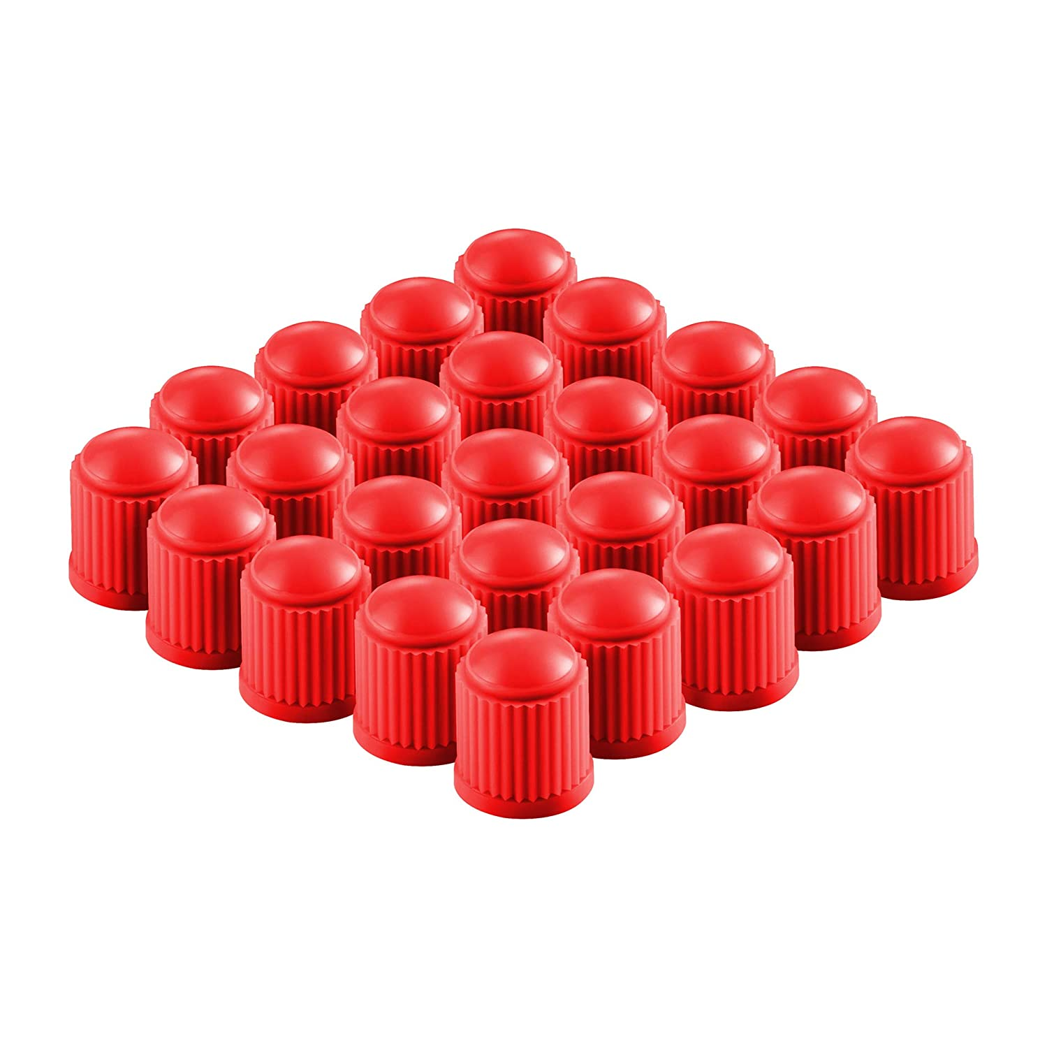 Universal Stem Covers for Cars SUVs Heavy-Duty Easy-Grip Use 25-Pack Airtight Seal Bike and Bicycle Red Trucks Red Valve-Loc Tire Valve Caps Motorcycles Screw-On