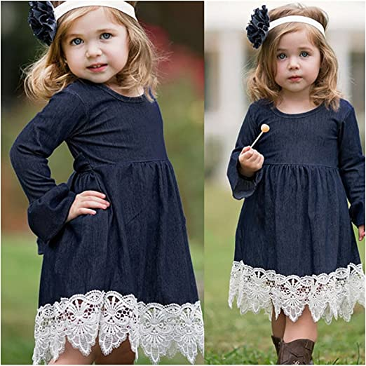 ad9507a7543 Amazon.com  Feitengtd Toddler Baby Girl Denim Long Flare Sleeve Dress Lace  Splice Sundress Clothes for 1-5 Years  Clothing