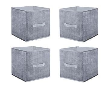 4er Set Aufbewahrungsbox Grau 30x30 Cm Regal Wurfel Box Faltbox