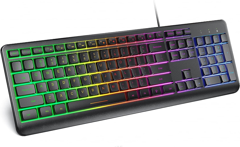 seenda Wired Backlit USB Keyboard, Low Profile Computer Keyboard with Stands, Waterproof Illuminated Keyboard Rainbow LED Backlight Keyboard Wired Gaming Keyboard