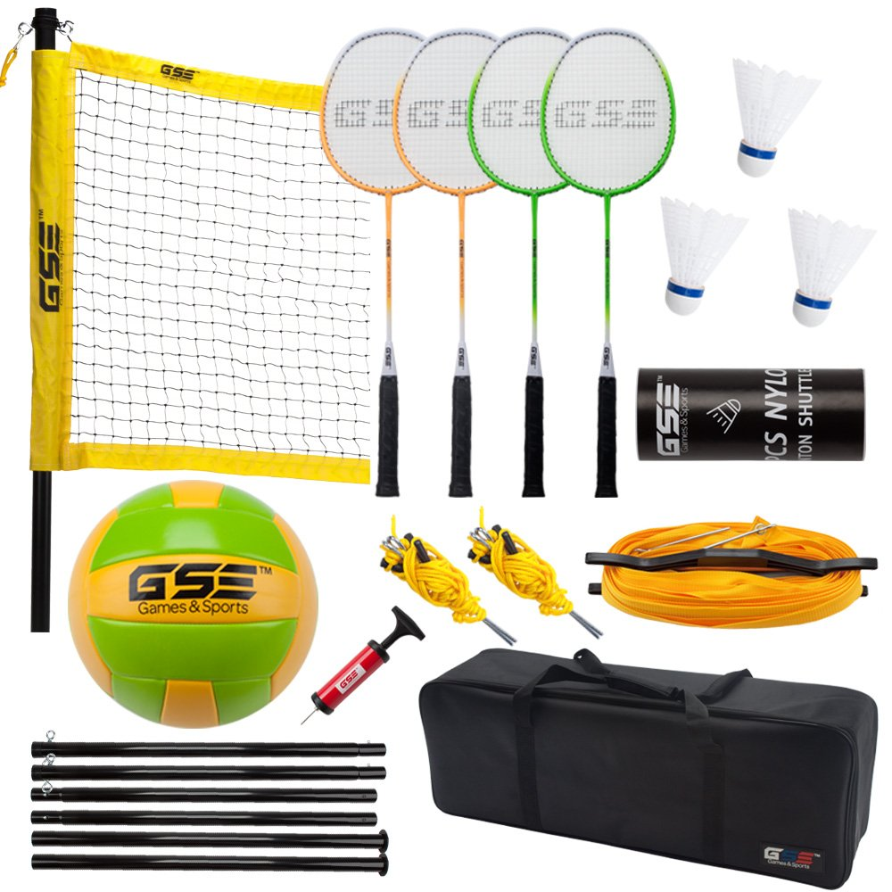 Professional Portable Volleyball And Badminton Complete Set. Come with Net System, 4 Badminton Racquets and 3 Shuttlecocks, Volleyball And Pump, Carrying Bag. Great for Backyard, Lawn, Park And Beach