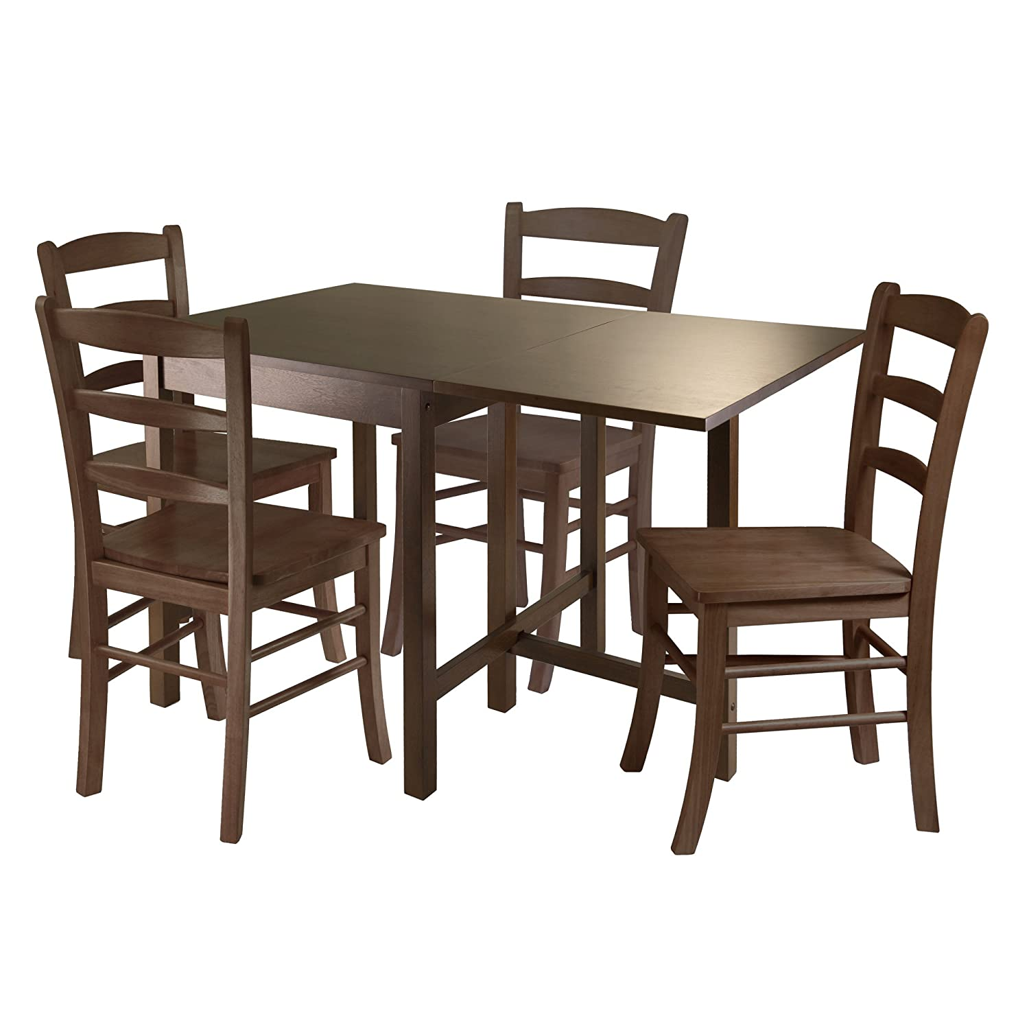 Fabulous Winsome Wood Lynden 5 Piece Dining Table With 4 Ladder Back Chairs Beutiful Home Inspiration Cosmmahrainfo