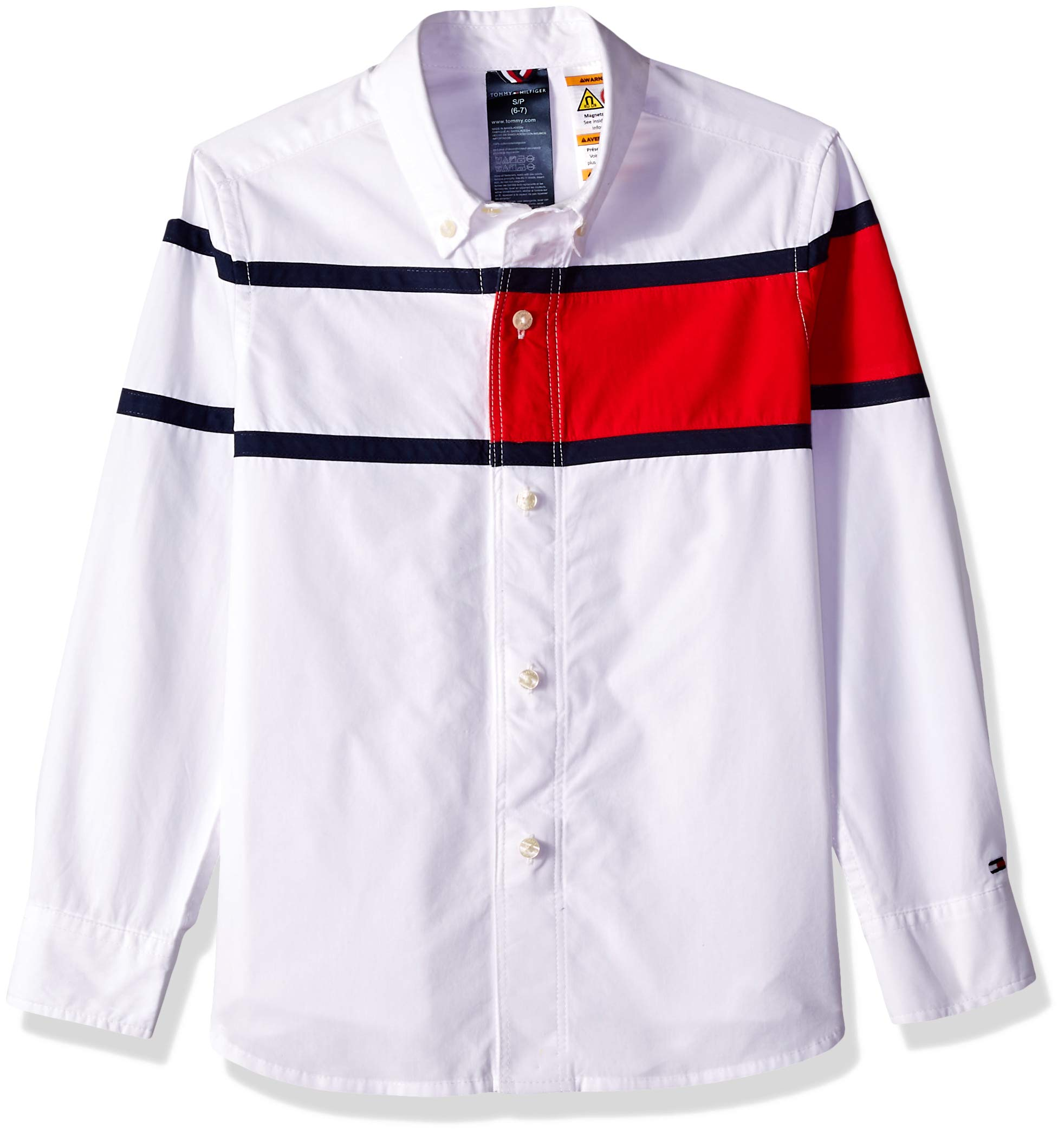 Tommy Hilfiger Adaptive Boys Magnetic Button Shirt, bright white Large