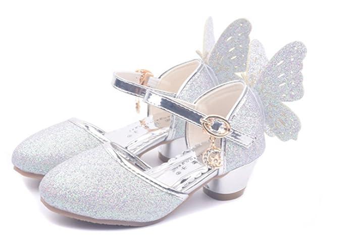 YOGLY Niñas Zapatos de Tacón Princesa Fiesta Sandalias para Niñas ... 66d6f586a228