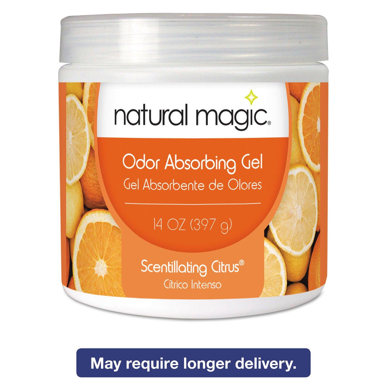 Natural Magic 4119D Odor Absorbing Gel, Scentillating Citrus, 14 oz Jar, 12/Carton
