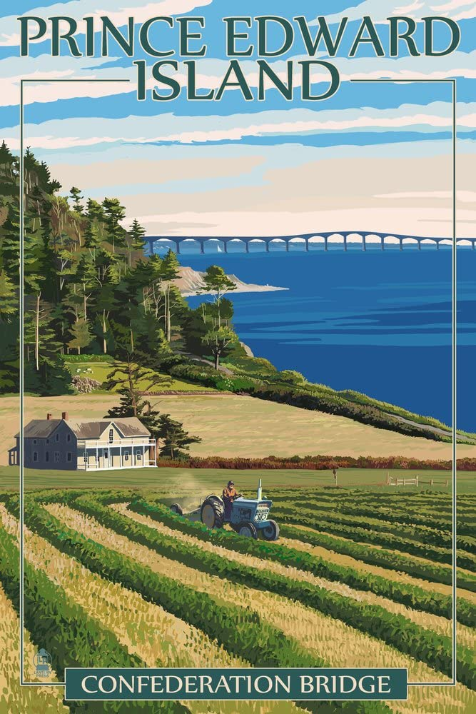 Prince Edward Island, Canada - Confederation Bridge and Farm (12x18 Art Print, Wall Decor Travel Poster)