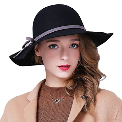 WE ZHE Lana femminile cappelli di feltro grandi cappelli cappello a tesa  larga Bowler Moda regolabile elegante 4600230e0e62