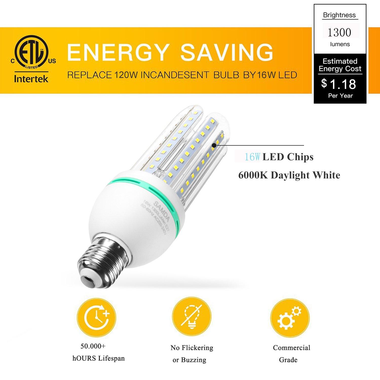 Bombillas LED E27, 16W equivalente de 120 vatios,luz blanca fría 6000K, 360 ° ángulo de luz,no regulable,1300 lúmenes LED maíz luz bombilla,ahorro de ...