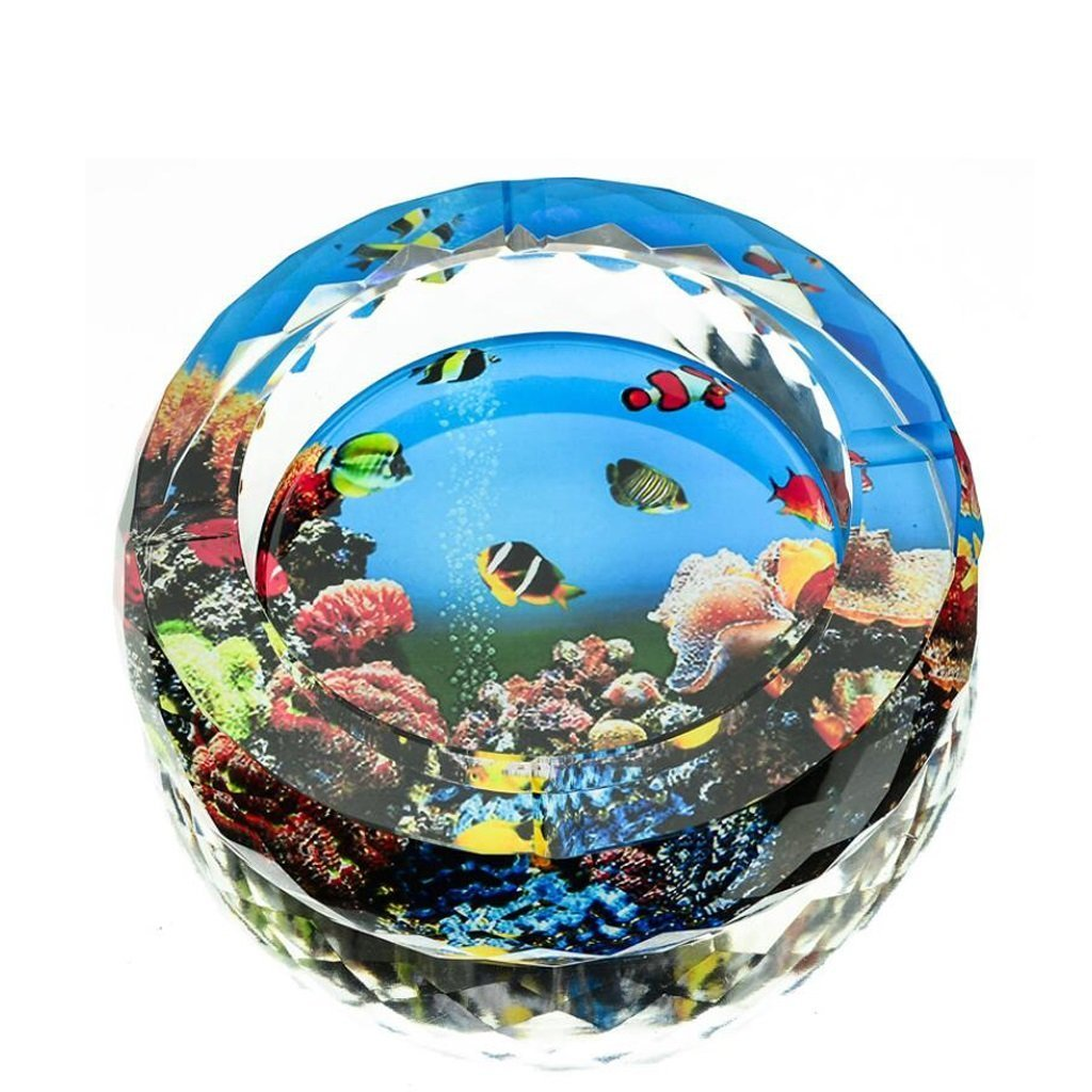 FACAIG 3of marine animals color printing round style glass crystal ashtray Home Decoration lounge (Size: 13 cm).