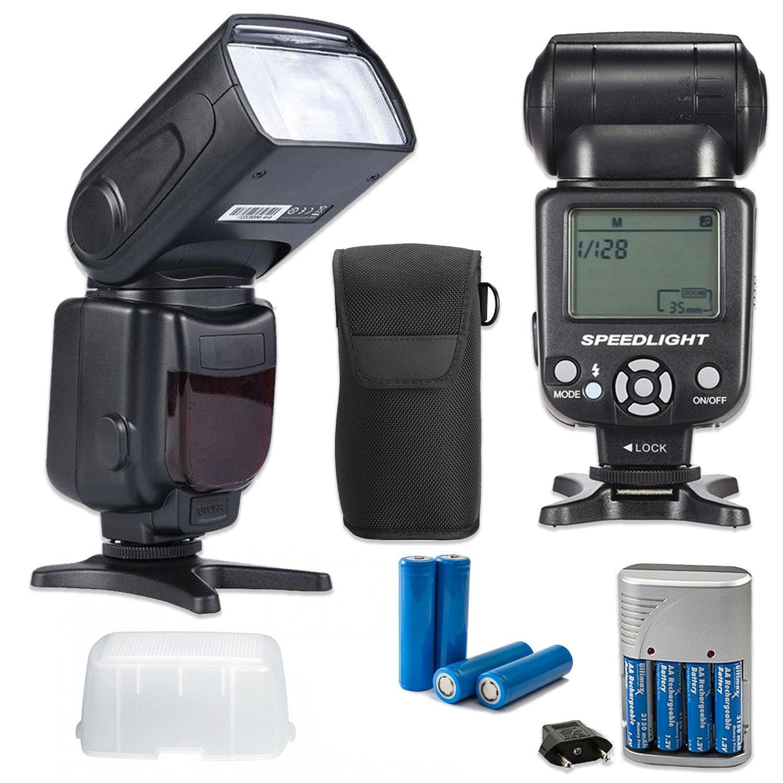 New Universal SpeedLight Manual Flash for Canon, Nikon, Fuji, Panasonic,  Samsung and Olympus Digital SLR Cameras + Flash Case + Flash Diffuser + AA  ...