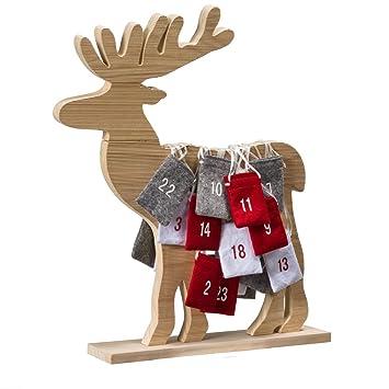 Weihnachtskalender Elch.Pureday Adventskalender Elch Mit 24 Beutelchen Holz Ca B63 X T10 X H62 5 Cm