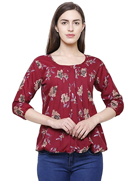 9120880e4ed FLICKZON Women s Crepe Balloon Sleeve Floral Printed Western Wear Top  (Maroon