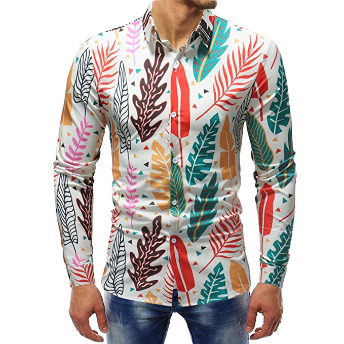 YanHoo Blusa Impresa de la Manera del Hombre Camisas Ocasionales de Manga Larga Slim Tops Algodón Delgado y Guapo Delgado y Guapo: Amazon.es: Ropa y ...