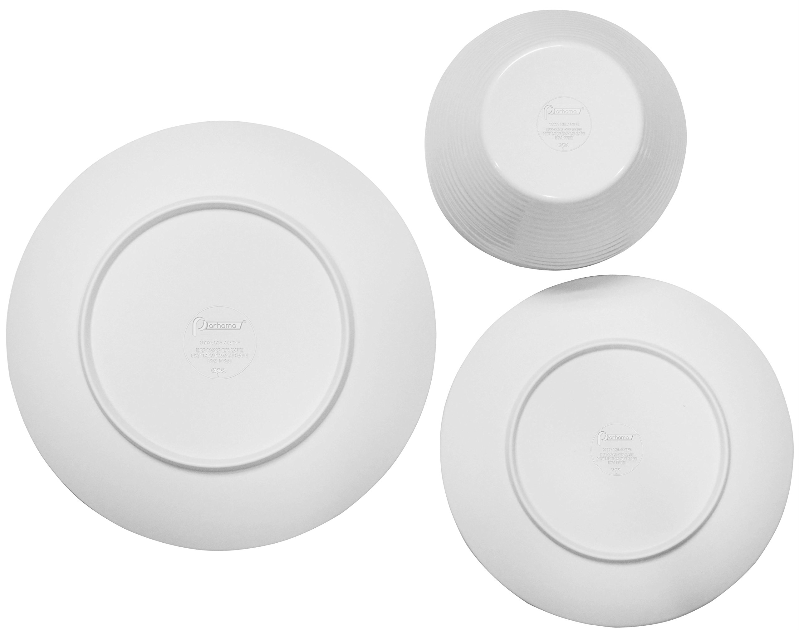 Parhoma White Melamine Home Dinnerware Set, 12-Piece Service for 4 by Parhoma (Image #9)