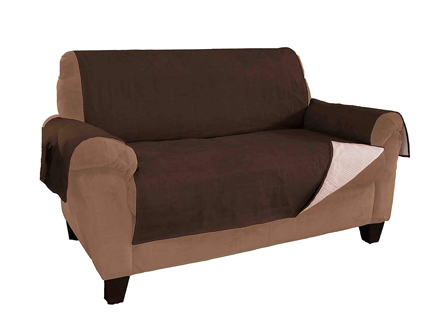 Link Shades and Improved Anti-Slip Grip Sofa and Couch Protector, Cover, Slipcover, with Stay Put Straps and Water Resistant Microsuede Fabric (Sofa, Chocolate)
