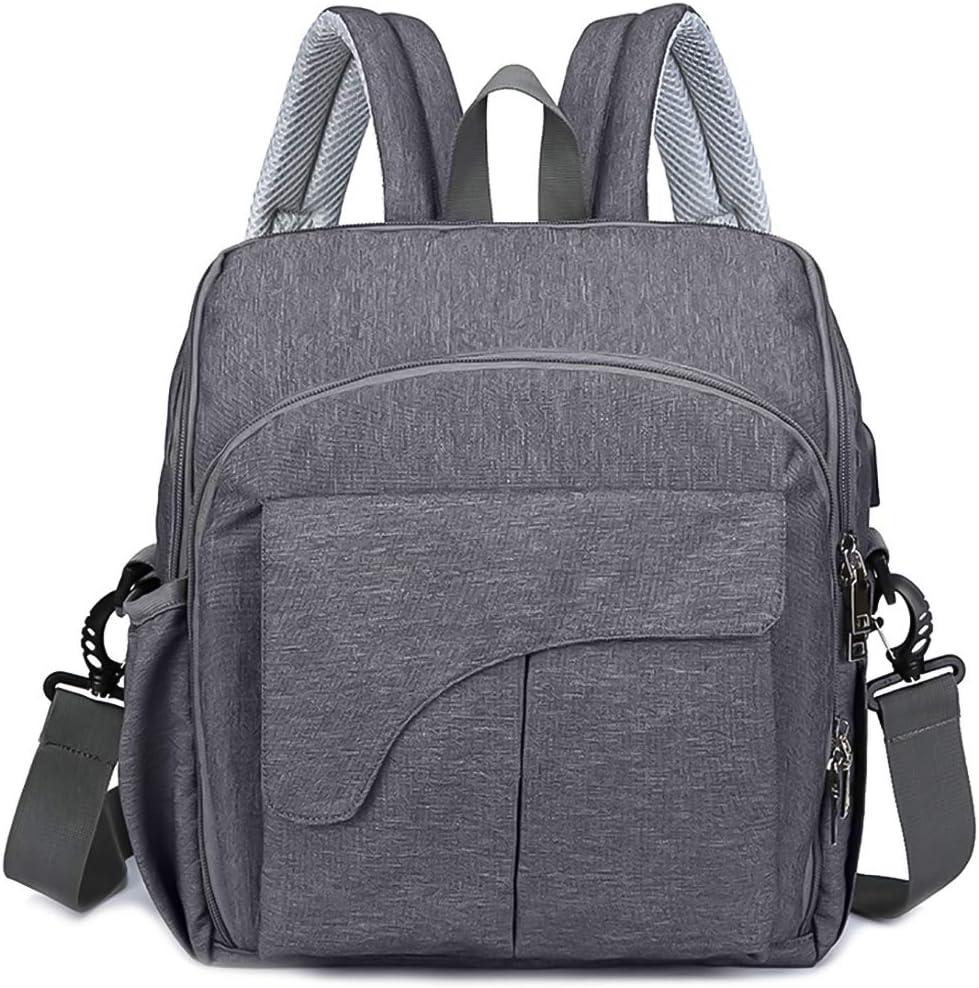 SONARIN Multifunción Impermeable Mochilas para Pañales,asiento delantero para bebé,interfaz USB,bolsa de pañales con aislamiento de botella,Gran Capacidad,lavable a máquina,Duradera(Gris Oscuro)