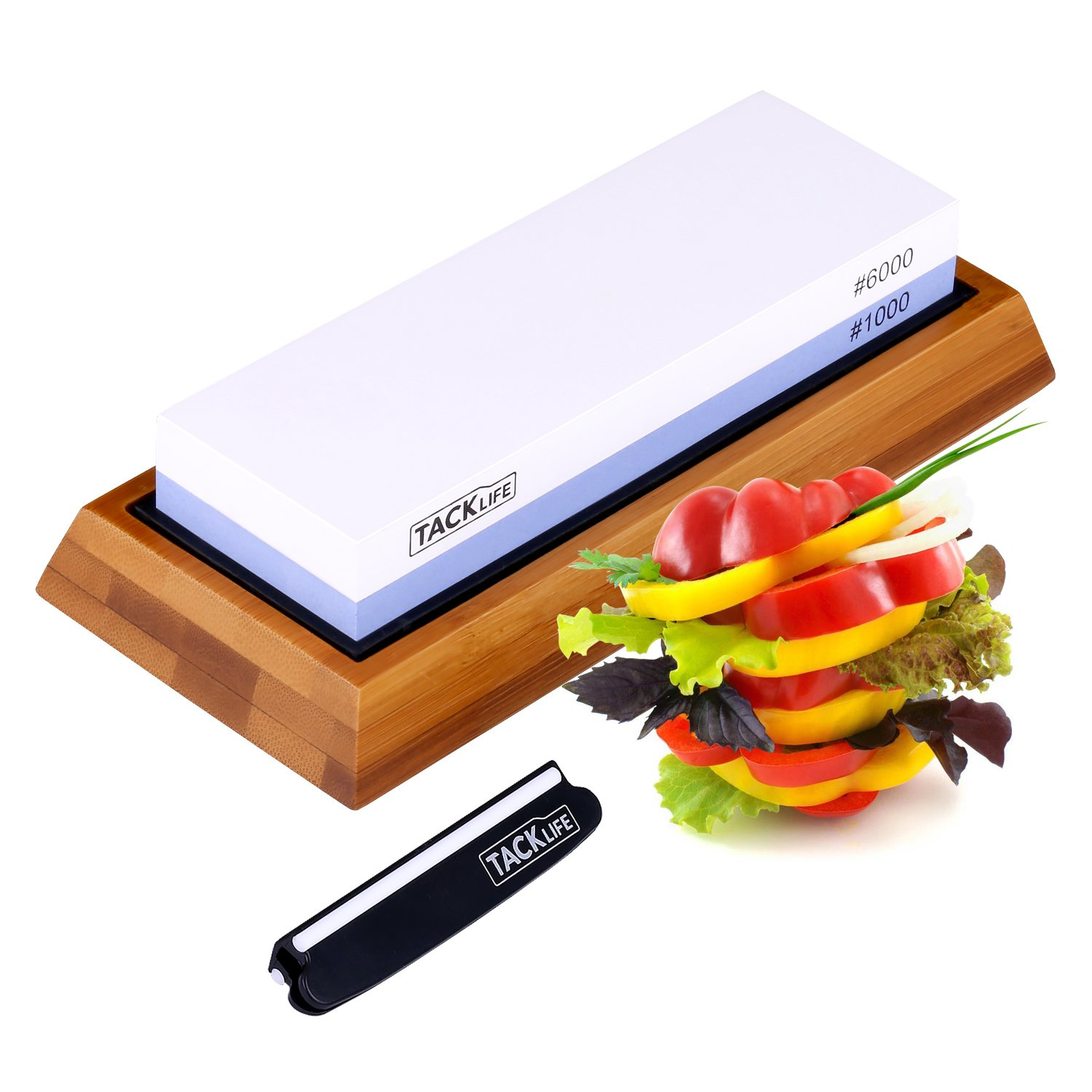 Premium Knife Sharpening Stone, Tacklife 1000/6000 Grits Double-Sided Whetstone with Non-Slip Bamboo, Rubber Base, Angle Guide - High Qualified White Corundum Waterstone - HSS1A