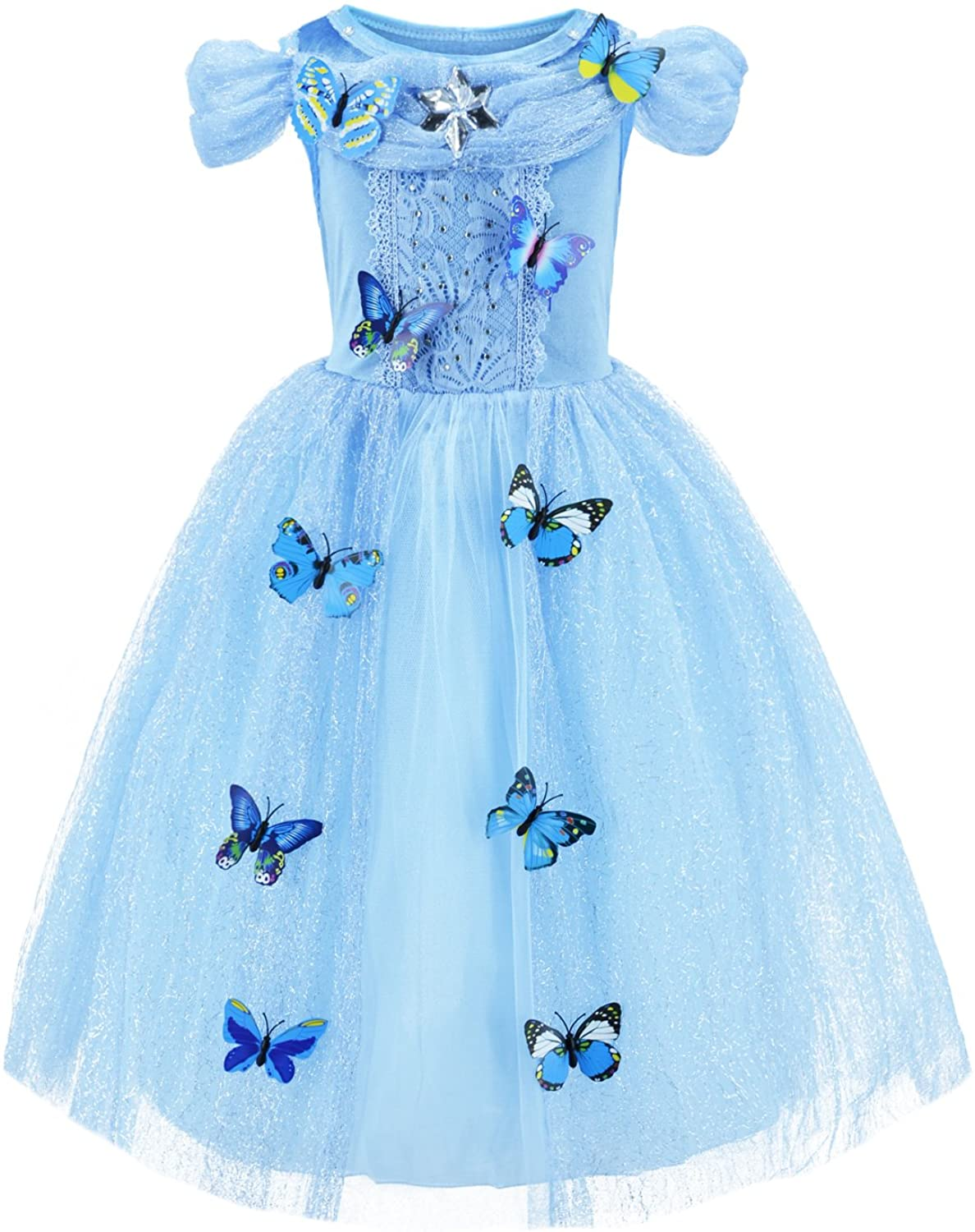 Party Chili Princess Costume for Girls Birthday,Christmas Dress Up with Accessories 3-10 Years