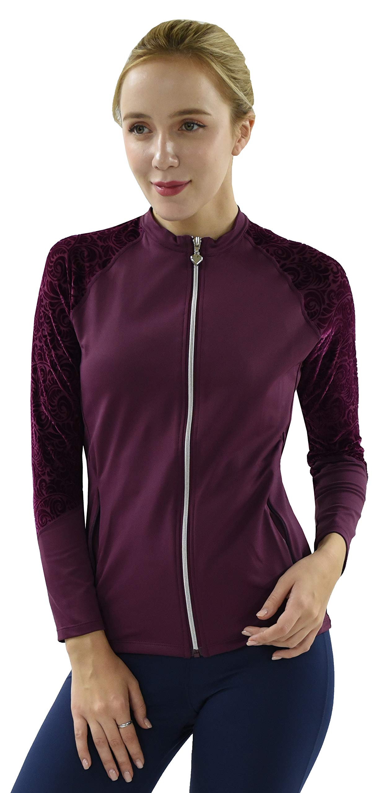 Private Island Hawaii UV Women Rash Guard Zip Up Long Sleeve Yoga Active Workout (S, DwVDW-JRSRGT) by Private Island